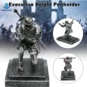 Armor Knight Pen Holder with Sword Accessory on One Knee Position Medieval Theme Resin Decoration for Office