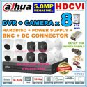 DAHUA 8~CHANNEL SET DVR + CAMERA X 8 + HARDDISC + POWER SUPPLY +CONNECTOR 5.0MP 5M-N Full HD 1080P CCTV PACKAGE